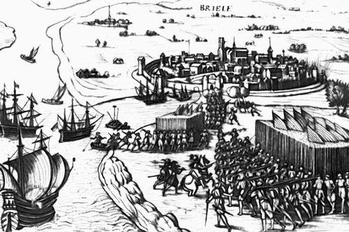 Взятие Брила морскими гёзами в 1572. Гравюра 16 в. Нидерландская буржуазная революция 16 века.