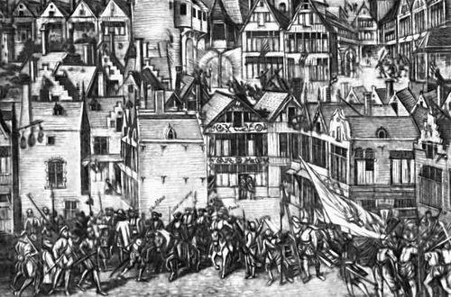 Волнения в Антверпене во время иконоборческого восстания 1566. Гравюра 16 в. Нидерландская буржуазная революция 16 века.