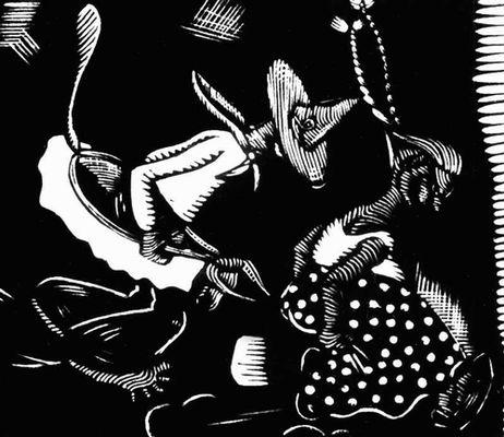 С. Бараона. «Корова» («Танец урожая»). Гравюра на дереве. 20 в. Никарагуа (государство в Центр. Америке).