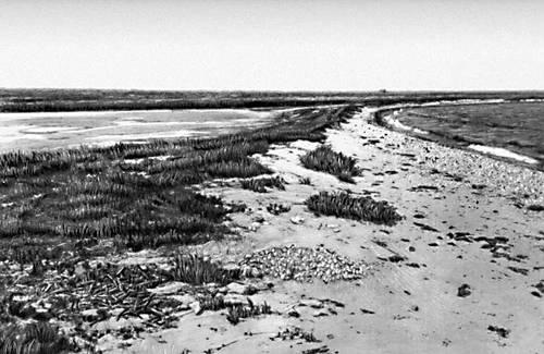 Реликтовое озеро Маякское на Крымском полуострове; справа — Азовское море. Озёра.