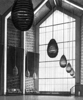 Орхус. Университет (1932—46, архитекторы К. Орхус Фискер, К. Ф. Мёллер, П. Стегман). Актовый зал. Орхус.