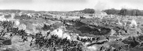 Фрагмент панорамы Ф. А. Рубо «Бородинская битва». 1911. Москва. Панорама.