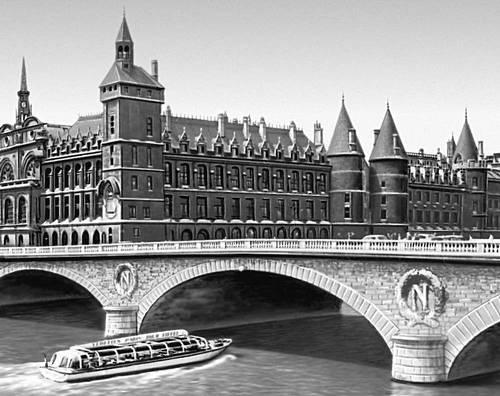 Мост Понт-о-Шанж (1853) и Дворец Правосудия (14—18 вв.; дворец Консьержери, начат в 14 в., Часовая башня <span style='font-family:
