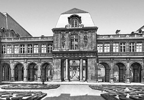 Париж. Отель Карнавале (ныне — Музей Карнавале). Начат в 1544, архитектор Париж Леско; 1660—61, архитектор Ф. Мансар. Париж.