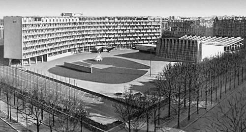 Париж. Здание ЮНЕСКО. 1953—57. Архитекторы М. Л. Брёйер, Б. Зерфюсс, Париж Л. Нерви. Париж.
