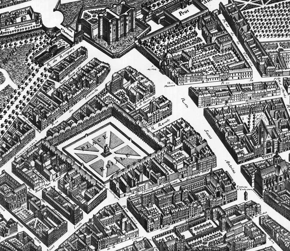 Н. де Шатийон. Королевская площадь (ныне площадь Вогезов) в Париже. 1606—2 (фрагмент из плана Тюрго. 1734—39). Обстроена зданиями с одинаковыми фасадами. В центре монумент Людовика XIII. Париж.