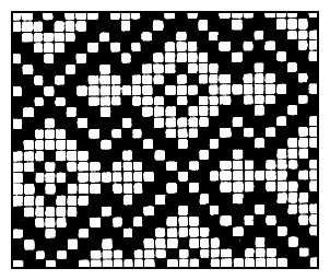 Рис. 3. Рисунок мелкоузорчатого переплетения. Переплетение нитей.