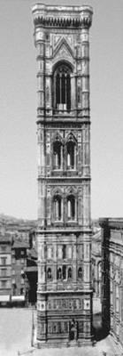 Кампанила собора Санта-Мария дель Фьоре во Флоренции. Начата в 1334 по проекту Джотто, строительство продолжено в 1337—43 Андреа Пизано и завершено около 1359 Ф. Таленти. Пизано.