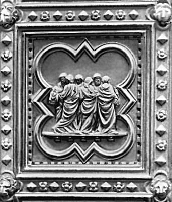 Андреа Пизано. «Перенесение тела Иоанна Крестителя». Рельеф на двери баптистерия во Флоренции. Позолоченная бронза. 1330—36. Пизано.