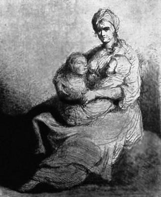 М. Плоньский. «Материнство». Около 1805—1810. Рисунок. Национальный музей. Варшава. Плоньский Михаил.