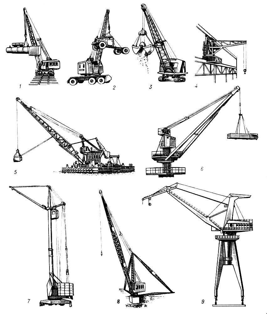 Рис. 1. Поворотные краны: 1 — железнодорожный: 2 — пневмоколёсный; 3 — гусеничный; 4 — настенно-поворотный передвижной; 5 — плавучий; 6 — судовой; 7 — башенный; 8 — мачтово-стреловой; 9 — портальный. Подъёмный кран.