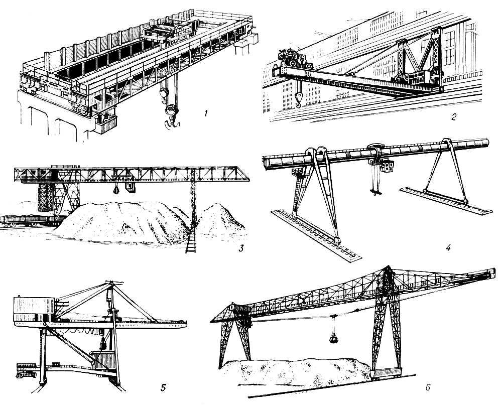 Рис. 2. Неповоротные краны: 1 — мостовой; 2 — настенно-консольный; 3 — мостовой перегружатель; 4 — козловой; 5 — береговой консольный перегружатель; 6 — мосто-кабельный кран. Подъёмный кран.