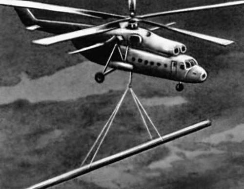 Рис. 3. Вертолет-кран. Подъёмный кран.