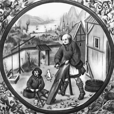 Цех кожевников. Миниатюра из «Кодекса Бальтазара Бехема». Начало 16 в. Польша.