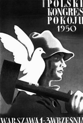 Плакат народной Польши. Т. Гроновский. «1-й польский конгресс мира». 1950. Польша.