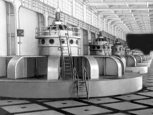 Машинный зал Днепрогэса. Промышленные здания.