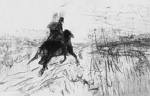 «Пушкин на прогулке». Рисунок В. Серова. 1899. Пушкин Александр Сергеевич.