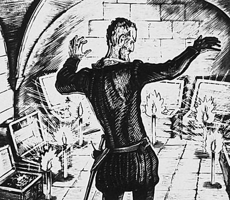 А. С. Пушкин. «Скупой рыцарь». Барон в подвале. Гравюра на дереве В. А. Фаворского. Пушкин Александр Сергеевич.