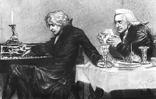 А. С. Пушкин. «Моцарт и Сальери». Илл. М. А. Врубеля (черный карандаш, 1884). Пушкин Александр Сергеевич.