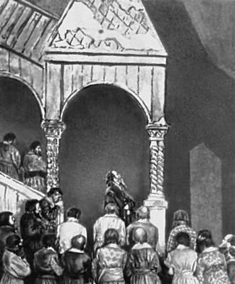 Сцена из спектакля «Борис Годунов». Московский Художественный театр. 1907. Пушкин Александр Сергеевич.