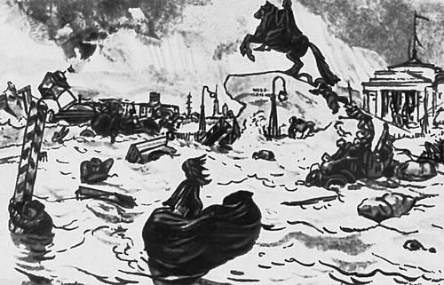 А. С. Пушкин. «Медный всадник». Илл. А. Н. Бенуа. 1923. Пушкин Александр Сергеевич.