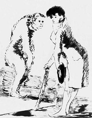 Ф. Гойя (Испания). «Щёголь» (из серии «Нескромное зеркало», 1792—97). Тушь, перо. Прадо. Мадрид. Рисунок.