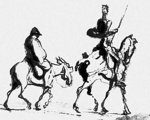 О. Домье. «Дон Кихот и Санчо Панса». Уголь, тушь, кисть. Ок. 1870. Метрополитен-музей. Нью-Йорк. (Франция). Рисунок.