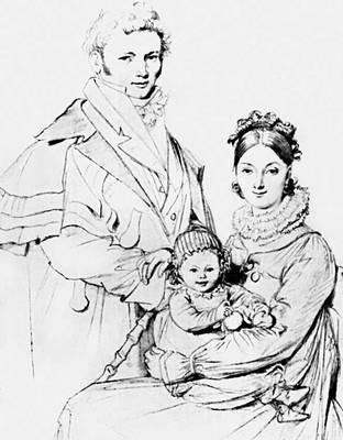 Ж. О. Д. Энгр. «Семья Гийон-Летьер». Карандаш. 1819. Бостонский музей изящных искусств. Рисунок.