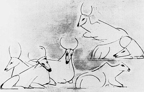 Т. Кулисевич (Польша). «Белые животные» (из серии «Индия»). Тушь, перо. 1956. Рисунок.