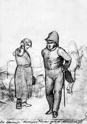 П. А. Федотов. «Квартальный и извозчик». Графитный карандаш. 1848—49. Рисунок.