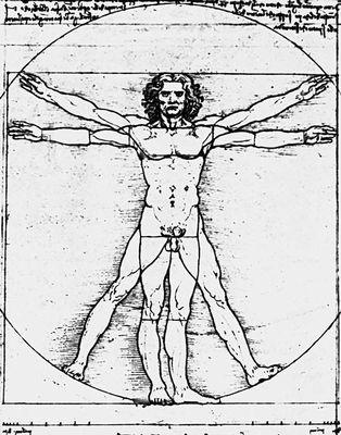 Леонардо да Винчи (Италия). «Фигура, иллюстрирующая пропорции человеческого тела согласно Витрувию». Бистр, перо. Ок. 1492. Галерея Академии. Венеция. Рисунок.