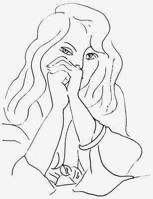 А. Матисс. «Женский портрет». Тушь, перо. 1944. Музей изобразительных искусств им. А. С. Пушкина. Москва. Рисунок.