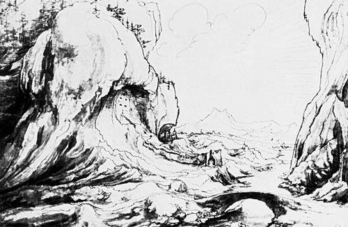 В. Хубер (Австрия). «Ущелье в Преттигау». Перо, акварель. 1552. Юниверсити-колледж. Лондон. Рисунок.