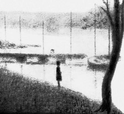 Ж. Сёра. «Мост Курбевуа». Графитный стержень. 1880-е гг. Собрание Ф. Кеттанех. Нью-Йорк. Рисунок.
