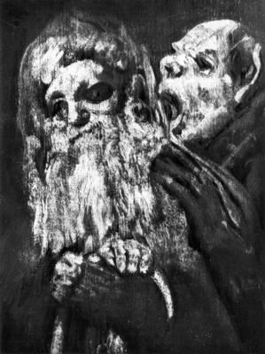 Ф. Гойя (Испания). «Два монаха». Деталь росписей «Дома Глухого» близ Мадрида. 1820—23. Ныне в Прадо, Мадрид. Романтизм.