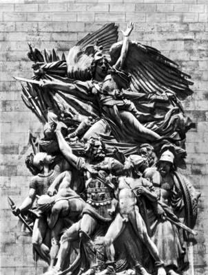 Ф. Рюд «Выступление добровольцев в 1792» («Марсельеза»). Рельеф на Триумфальной арке на площади де Голля в Париже. Камень. 1833—36. Франция. Романтизм.