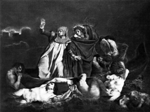 Э. Делакруа. «Ладья Данте». 1822. Лувр, Париж. Романтизм.