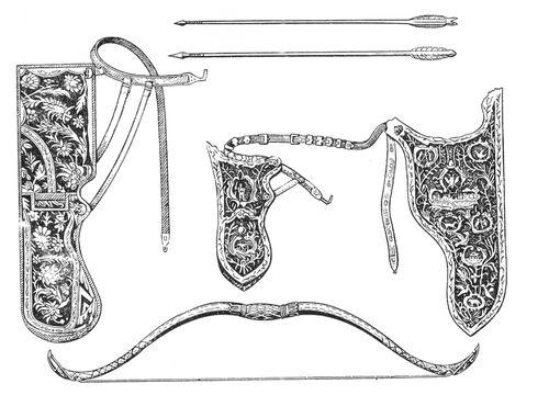 Сайдаки, лук и стрелы 16—17 вв. Сайдак.