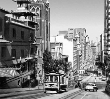 Сан-Франциско. Канатная дорога на Калифорния-авеню («Китайский город»). Сан-Франциско (город в США).