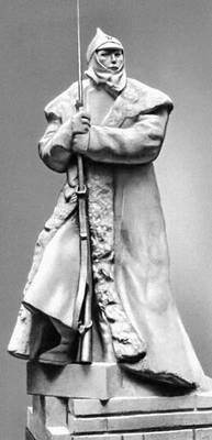 Л. В. Шервуд. «Часовой». Гипс. 1933. Третьяковская галерея. Москва. Скульптура.