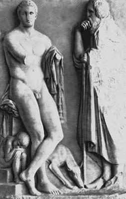 Скульптура. Скопас (?) (Древняя Греция). Надгробие юноши. Мрамор. Около 340 до н. э. Национальный археологический музей. Афины. Скульптура.