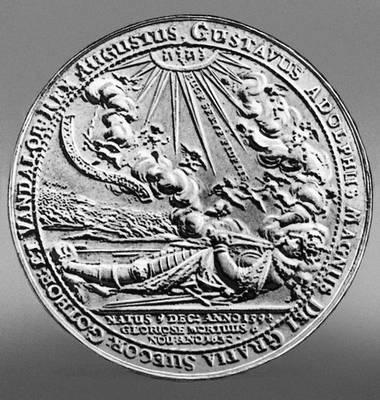 Скульптура. Скульптура Дадлер (Германия). Медаль, выпущенная в память о шведском короле Густаве II Адольфе. Чеканка. 1632. Скульптура.