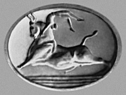 Скульптура. «Ритуальные игры с быком». Оттиск печати (с о. Крит). Около 1500 до н. э. Национальный археологический музей. Афины. Скульптура.