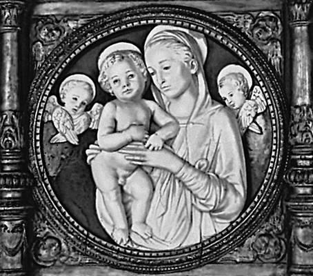 Андреа делла Роббиа (Италия). «Мадонна с младенцем». Майолика. 15 в. Метрополитен-музей. Нью-Йорк. Скульптура.