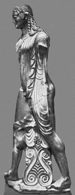 Вулка (культура этрусков; Италия). Статуя Аполлона из Вей. Глина. Около 500 до н. э.Музей Виллы Джулия. Рим. Скульптура.