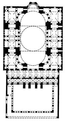 Византия. Анфимий из Тралл и Исидор из Милета. Храм св. Софии в Константинополе. 532—537. План. Софии храм.