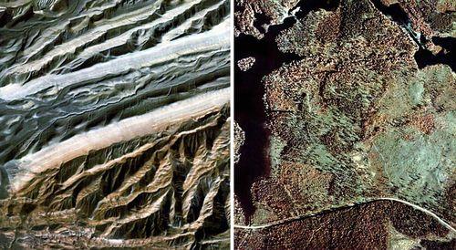Аэроснимки с натуральным (цветные) и преобразованным (спектрозональные) цветовоспроизведением местности, полученные в летнее время. Оптимальные случаи применения аэроснимков данных типов. Слева — среднегорный участок с обнаженными пестроцветными грядами коренных пород (мергели — красноватые, песчаники — серые). Справа — равнинный озерно-болотный участок с древесно-кустарниковой растительностью (ельники — зеленые, березнями — кирпично-красные). Спектрозональная аэрофотосъёмка.