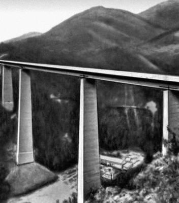 Общий вид балочного стального моста «Европа» на автостраде Мюнхен — Рим. Стальной мост.