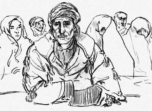 Б. Таслицкий. «Сельскохозяйственные рабочие. Алжир». Рисунок. 1952. Таслицкий Борис.