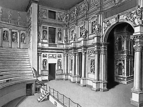 Палладио. Театр Олимпико в Виченце. 1580—85. Окончен архитектором В. Скамоцци. Театр.